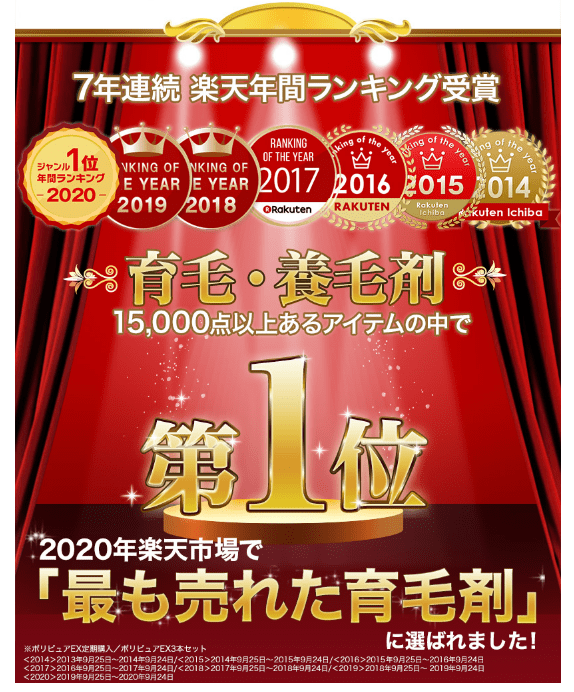 7年連続楽天年間ランキング受賞