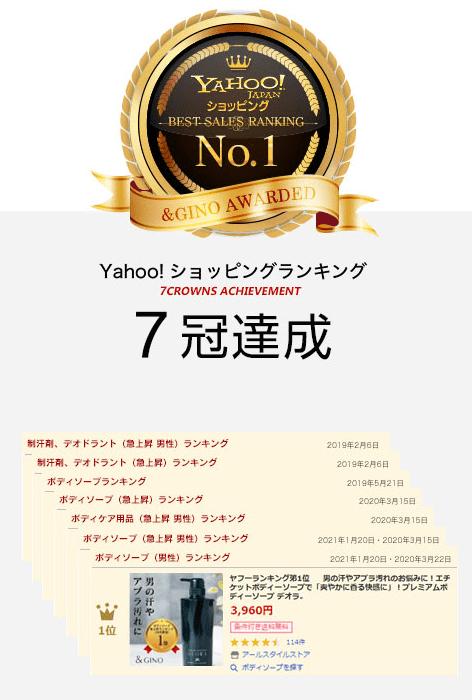 Yahoo! ショッピングランキング6冠達成